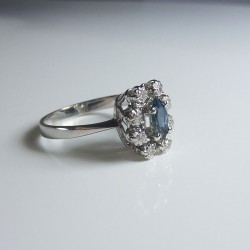 Bague entourage - Saphir & Diamants - or blanc