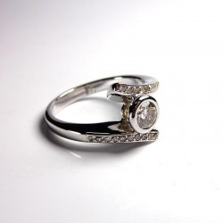 Bague diamants 0,6ct - Or blanc - Occasion