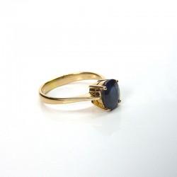 Solitaire - Saphir bleu - Or jaune