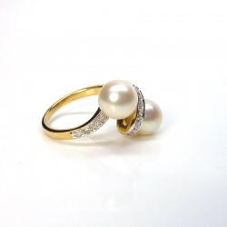 Toi & Moi - Perles et Diamants - Deux or