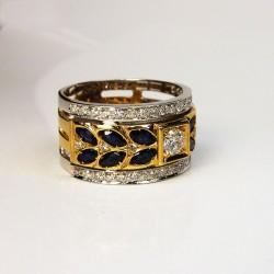 Bague Diamants 0.9ct - Saphirs - Occasion