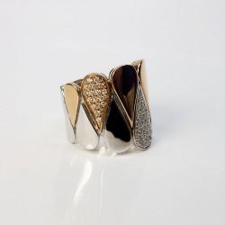 Bague contemporaire - Diamants 0.42ct - Trois or