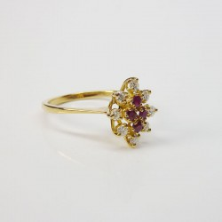 Bague marquise - Rubis & Diamants - Or jaune 18ct (750/000) - Occasion