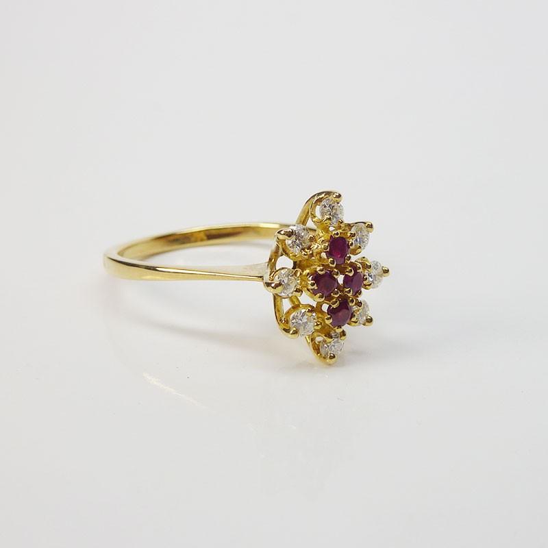 bague marquise rubis diamants or jaune 18ct 750 000 occasion