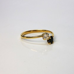 Bague Toi & Moi - Diamant 0,18ct - Saphir - Or jaune 18ct (750/000) - Occasion