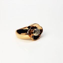 Bague ancienne - Diamants - Or rose 18ct (750/000) et Platine 850/000