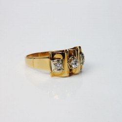 Bague style ancien - Diamants - Or jaune et blanc