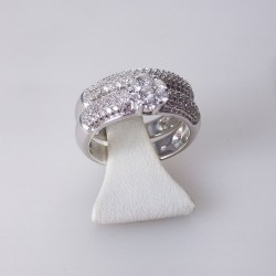 Bague double 0,77ct de diamants - or blanc