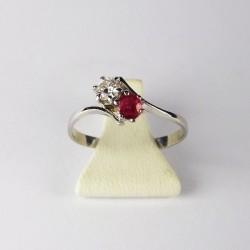 Bague Toi et Moi - 0,16ct de diamant - rubis