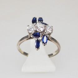 Bague 0,72ct de diamants - saphirs - or blanc