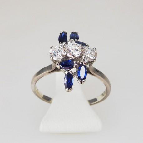 Bague diamants et saphirs - or blanc