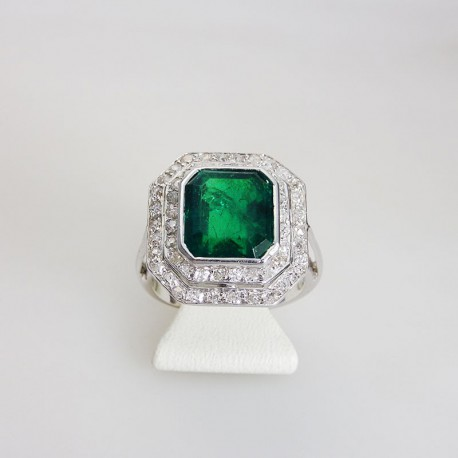 Bague ancienne emeraude & diamants