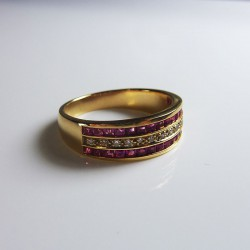 Bague Diamants & Rubis - or jaune
