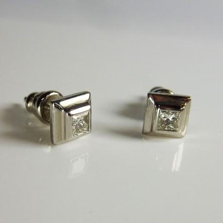 Boucle d'oreille - Diamants princesse 0,4ct - Occasion