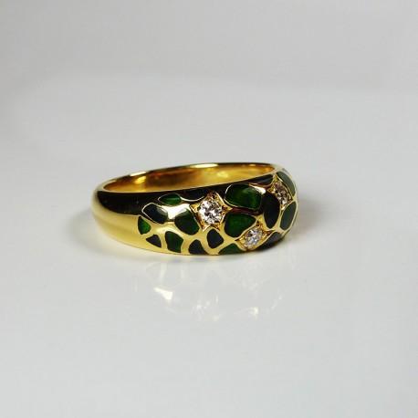 KORLOFF - Diamant et émail - or jaune