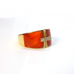 Bague laque rouge - Diamants - Or jaune