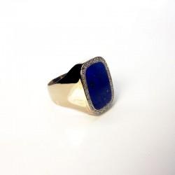 Chevalière Lapis Lazulis - Diamants - Or blanc