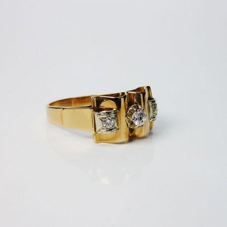 Bague style ancien - Diamants - Or jaune et blanc