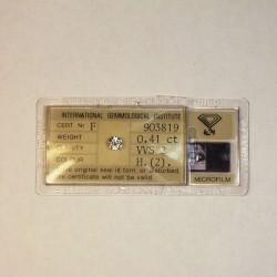 Diamant Certifié 0,41ct - VVS2 - H