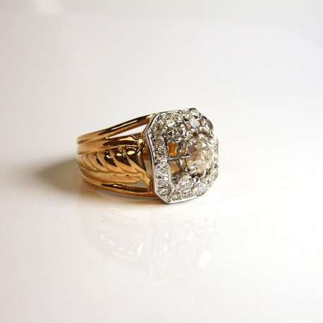 Bague Ancienne - Diamants 1ct - Occasion