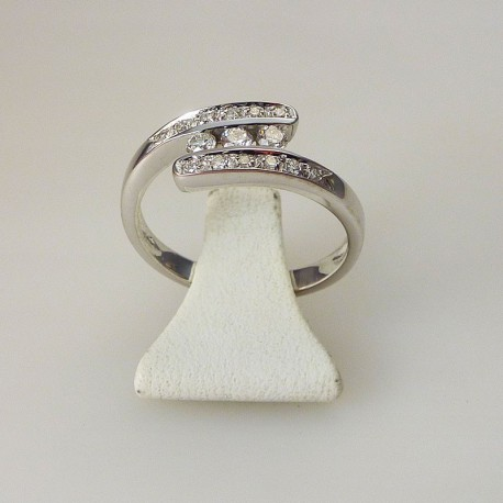 Bague trilogie 0,18ct de diamant - or blanc